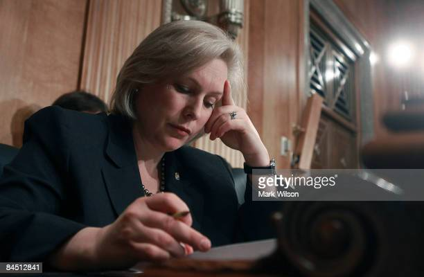 Sen Kirsten Gillibrand looks over her papers during a Senate Foreign relations Committee hearing on Capitol Hill on January 28 2009 in Washington DC...