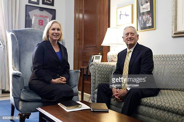Sen. Kirsten Gillibrand meets with retired General James Mattis on January 4, 2017 on Capitol Hill in Washington, DC. General Mattis is...