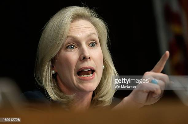 Sen Kirsten Gillibrand questions US military leaders while they testify before the Senate Armed Services Committee on pending legislation regarding...
