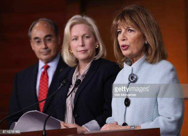 Sen Kirsten Gillibrand Rep Jackie Speier and Rep Bruce Poliquin speak at a press conference on sexual harassment in Congress on November 15 2017 in...