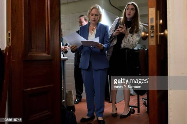 S Sen Kirsten Gillibrand speaks at a news conference supporting Puerto Rico's recovery from Hurricane Maria September 18 2018 in Washington DC...