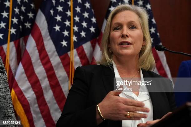 S Sen Kirsten Gillibrand speaks during a news conference December 6 2017 on Capitol Hill in Washington DC The lawmaker unveiled bipartisan...