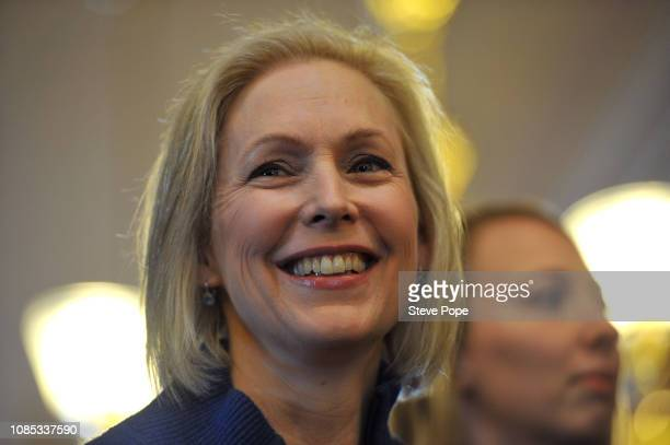 S Sen Kirsten Gillibrand speaks to a large crowd at the state capitol for the third annual Women's March on January 19 2019 in Des Moines Iowa...