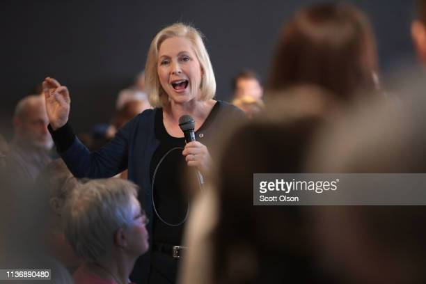 Sen Kirsten Gillibrand speaks to guests during a campaign stop on March 19 2019 in Dubuque Iowa The stop was Gillibrand's first in the state since...