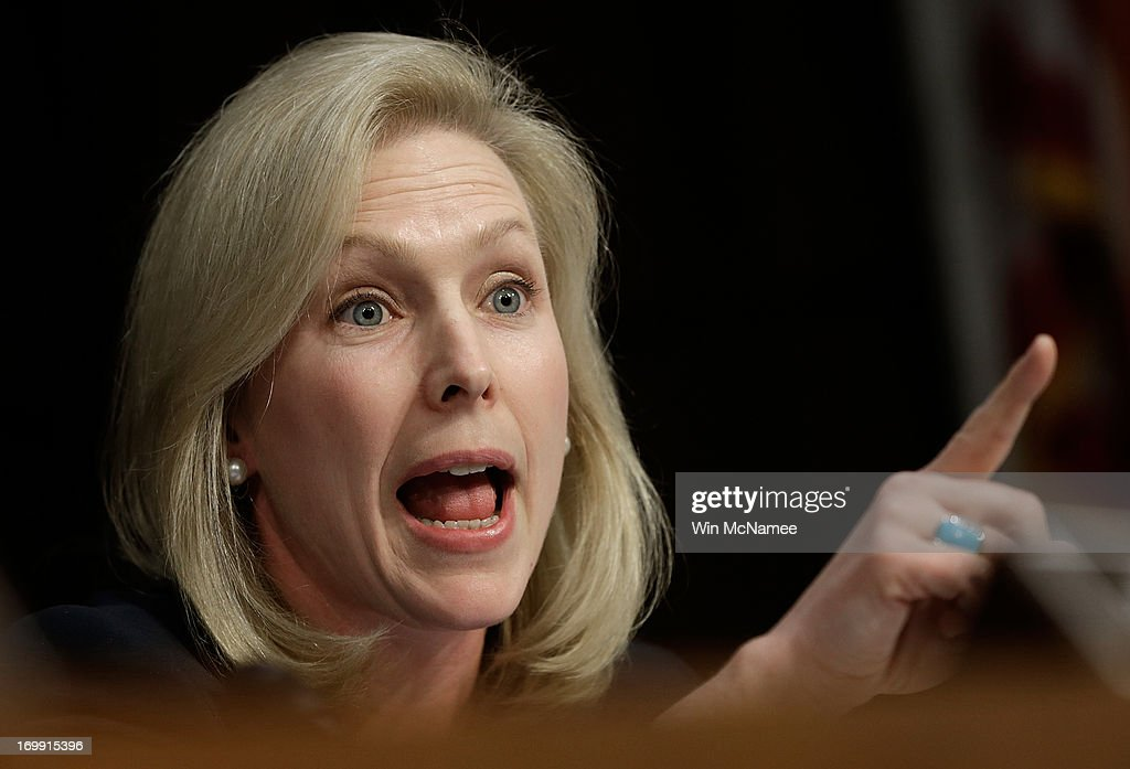 Sen. Kirsten Gillibrand (D-NY) speaks while U.S. military leaders testify before the Senate Armed Services Committee on pending legislation regarding sexual assaults in the military June 4, 2013 in Washington, DC. A recent survey of active duty personnel by the Pentagon revealed that 6.1 percent of women and 1.2 percent of men reported receiving 'unwanted sexual contact' in the past year.