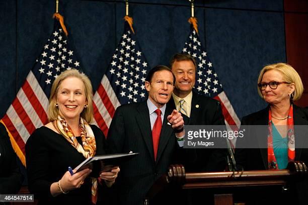 US Sen Kirsten Gillibrand US Sen Richard Blumenthal US Sen Dean Heller and US Sen Claire McCaskill answer questions during a bipartisan news...
