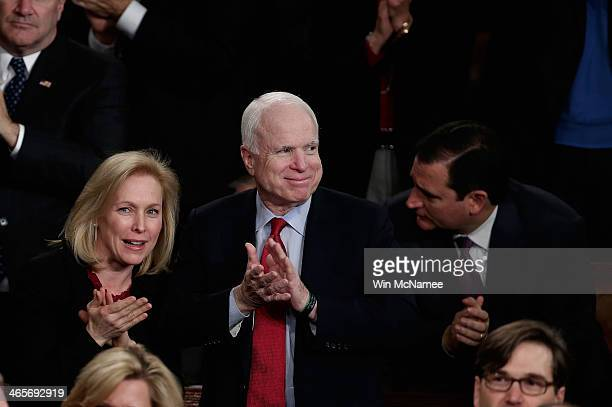 US Sen Kristen Gillibrand and US Sen John McCain and US Sen Ted Cruz applaud as US President Barack Obama delivers the State of the Union address to...