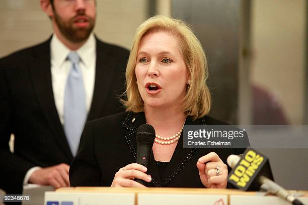 S Sen Kristen Gillibrand promotes the Yumo Lunch Program at PS 89 / IS 289 on October 26 2009 in New York City