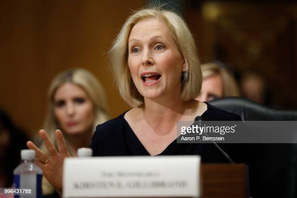 Sen Kristen Gillibrand speaks during a Commerce Committee hearing on paid family leave July 11 2018 on Capitol Hill in Washington DC Legislators are...