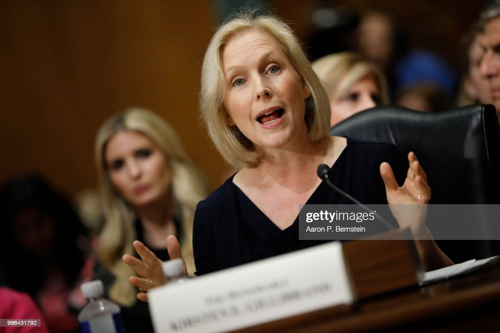 Sen. Kristen Gillibrand (D-NY) speaks during a Commerce Committee hearing on paid family leave July 11, 2018 on Capitol Hill in Washington, DC. Legislators are hoping to add a paid family leave component to the Social Security Administration.