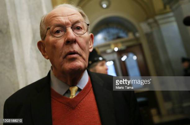 Sen Lamar Alexander arrives at the US Capitol as the Senate impeachment trial of US President Donald Trump continues on January 31 2020 in Washington...
