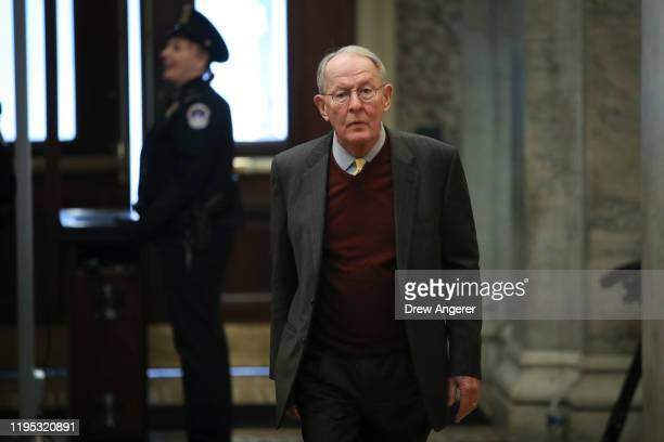 Sen Lamar Alexander arrives at the US Capitol on January 22 2020 in Washington DC The Senate impeachment trial of President Donald Trump which...