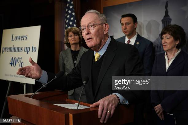 S Sen Lamar Alexander speaks as Sen Lisa Murkowski Rep Ryan Costello and Sen Susan Collins listen during a news conference at the Capitol March 21...