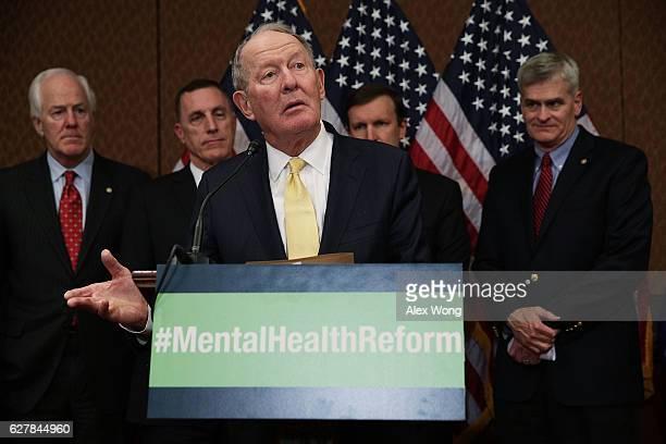 S Sen Lamar Alexander speaks as Senate Majority Whip Sen John Cornyn Rep Tim Murphy Sen Chris Murphy and Sen Bill Cassidy look on during a news...