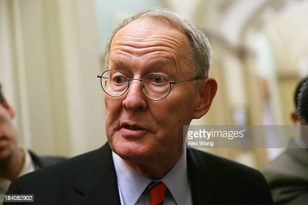 S Sen Lamar Alexander speaks to members of the media at the Capitol October 11 2013 on Capitol Hill in Washington DC On the 11th day of a US...