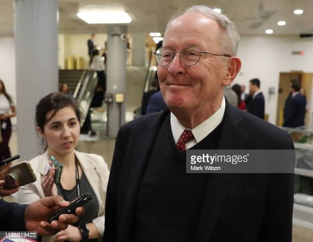 Sen Lamar Alexander speaks to reporters after the Senate voted to overturn the President's national emergency border declaration at the US Capitol on...