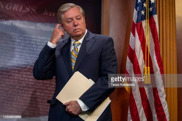 Sen. Lindsey Graham attends a press conference announcing Senate Republicans' opposition to D.C. Statehood on Capitol Hill July 01, 2020 in...