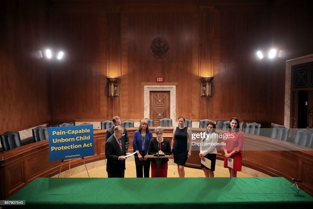 Sen. Lindsey Graham (R-SC), Family Research Council President Tony Perkins, National Right To Life President Carol Tobias, Sen. Joni Ernst (R-IA), Americans United for Life CEO Catherine Foster, Susan B. Anthony List Communications Director Mallory Quigley and Concerned Women For America Chief of Staff Caroline Aderholt participate in a news conference to introduce the Senate version of the 'Pain Capable Unborn Child Protection Act' in the Dirksen Senate Office Building on Capitol Hill October 5, 2017 in Washington, DC. Graham's bill is the companion legislation to House of Representatives' version, which passed earlier this week by a vote of 237 to 189.