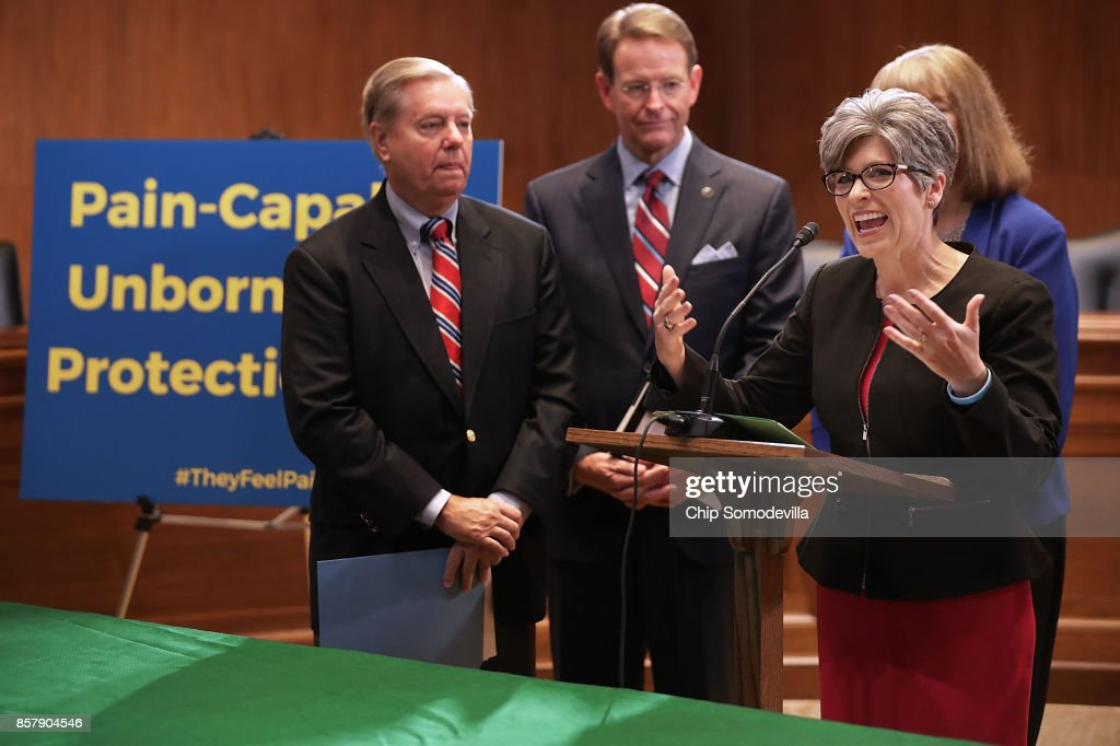 Sen. Lindsey Graham (R-SC), Family Research Council President Tony Perkins, Sen. Joni Ernst (R-IA) and other representatives from other anti-abortion groups hold a news conference to introduce the Senate version of the 'Pain Capable Unborn Child Protection Act' in the Dirksen Senate Office Building on Capitol Hill October 5, 2017 in Washington, DC. Graham's bill is the companion legislation to House of Representatives' version, which passed earlier this week by a vote of 237 to 189.