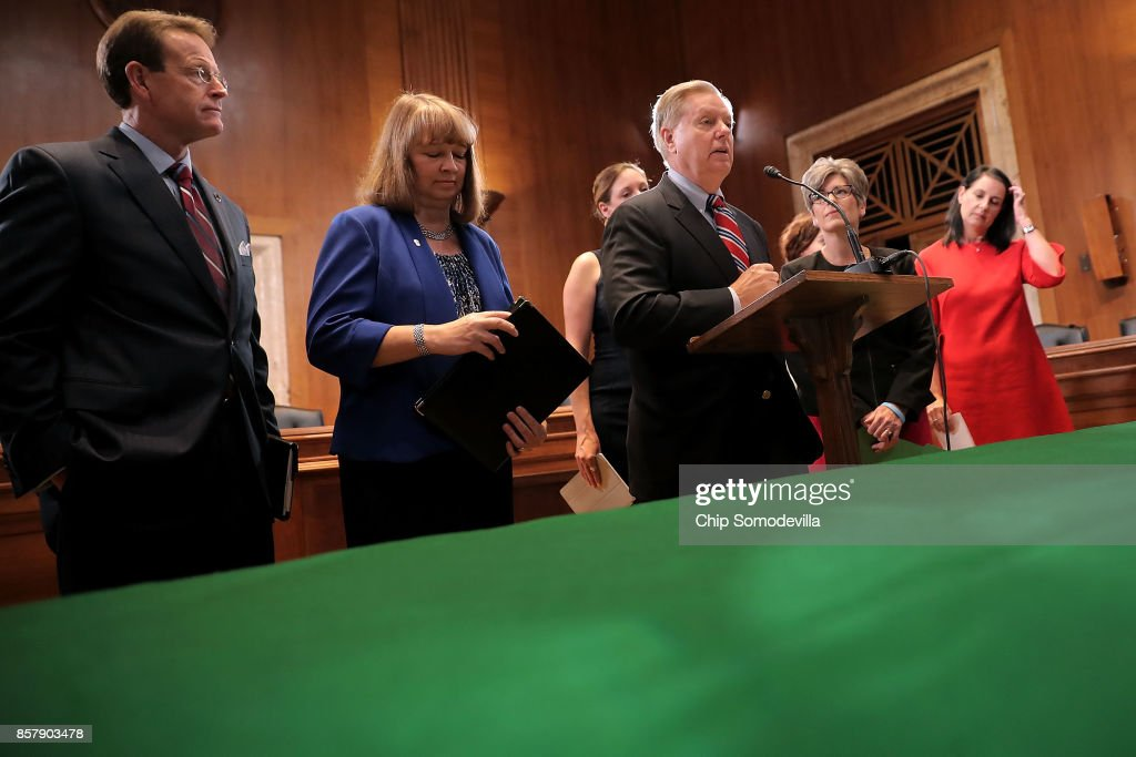 Sen. Lindsey Graham (R-SC) (C) introduces the Senate version of the 'Pain Capable Unborn Child Protection Act' during a news conference with (L-R) Family Research Council President Tony Perkins, National Right To Life President Carol Tobias, Sen. Joni Ernst (R-IA) and other representatives from other anti-abortion groups in the Dirksen Senate Office Building on Capitol Hill October 5, 2017 in Washington, DC. Graham's bill is the companion legislation to House of Representatives' version, which passed earlier this week by a vote of 237 to 189.