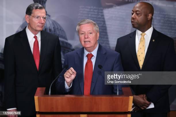 Sen. Lindsey Graham joins Sen. John Barrasso , Sen. Tim Scott and other Senate Republicans during a news conference at the U.S. Captiol on July 21,...
