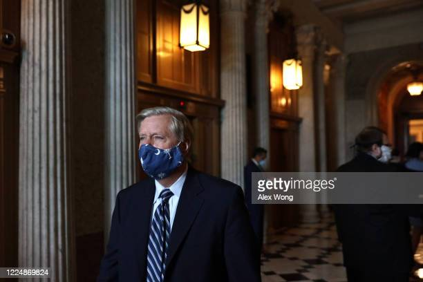 Sen. Lindsey Graham leaves after a vote at the U.S. Capitol May 14, 2020 in Washington, DC. The Senate is scheduled to vote on passage of H.R.6172,...
