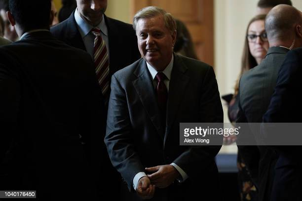 S Sen Lindsey Graham leaves after a weekly Senate Republican policy luncheon September 25 2018 at the Capitol in Washington DC Senate GOPs held the...