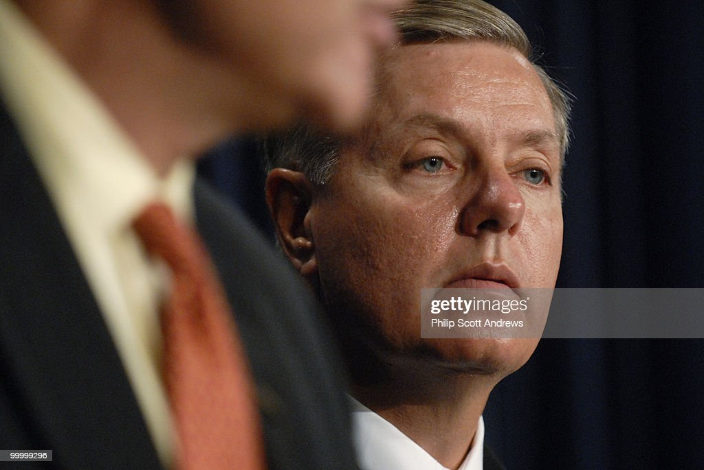 Sen. Lindsey Graham, R-Sc, at a press conference with Sen. Charles Schumer, D-Ny, where they discussed their plan for an amendment to the immigration bill that calls for a biometric social security card.
