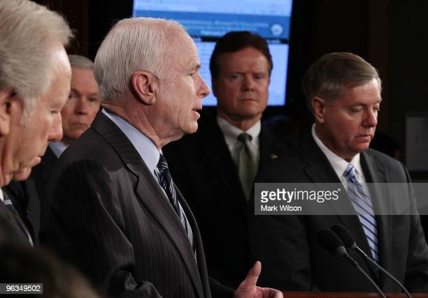 Sen Lindsey Graham Sen Jim Webb Sen John McCain and Sen Joeseph Lieberman and others participate in a news conference on Capitol Hill on February 2...