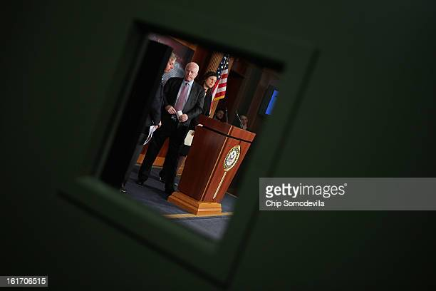Sen Lindsey Graham Sen John McCain and Sen Kelly Ayotte hold a news conference at the US Capitol February 14 2013 in Washington DC The GOP senators...