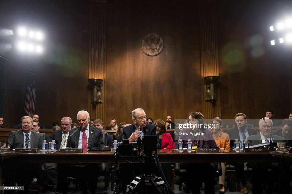 Sen. Lindsey Graham (R-SC), Sen. Orrin Hatch (R-UT), committee chairman Sen. Chuck Grassley (R-IA), ranking member Sen. Dianne Feinstein (D-CA) and Sen. Patrick Leahy (D-VT) look on during a meeting of the Senate Judiciary Committee to vote on the nomination of Attorney General nominee Jeff Sessions, on Capitol Hill, February 1, 2017 in Washington, DC. Sessions was approved by the committee in an 11 to 9 vote.