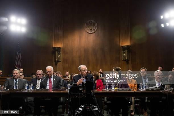 Sen Lindsey Graham Sen Orrin Hatch committee chairman Sen Chuck Grassley ranking member Sen Dianne Feinstein and Sen Patrick Leahy look on during a...