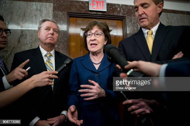 Sen Lindsey Graham Sen Susan Collins and Sen Jeff Flake talk to reporters after a meeting with a bipartisan group of moderate Senators in Collins'...