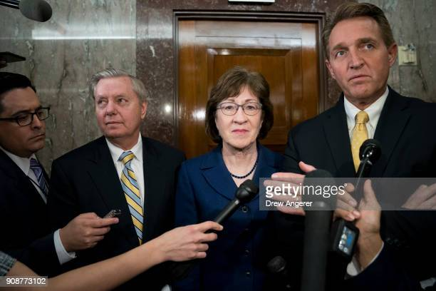 Sen. Lindsey Graham , Sen. Susan Collins and Sen. Jeff Flake talk to reporters after a meeting with a bipartisan group of moderate Senators in...