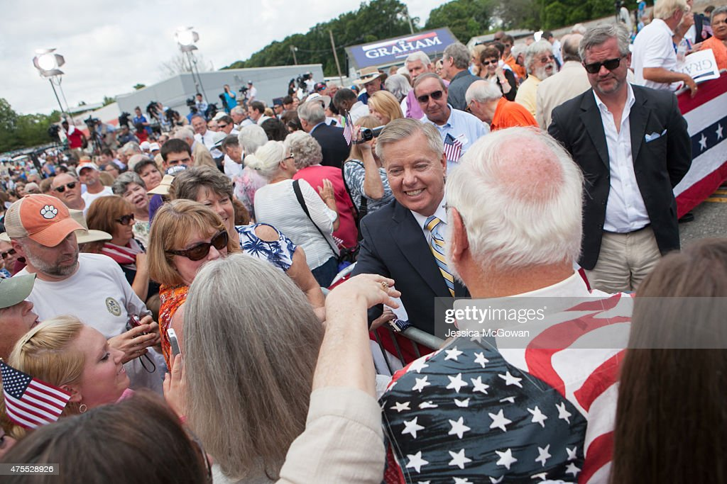 U.S. Sen. Lindsey Graham (R-SC) shakes hands with supporters after announcing his candidacy for United States President during an outdoor event on June 1, 2015 in Central, South Carolina. Graham is the ninth Republican to join the race for president in 2016.