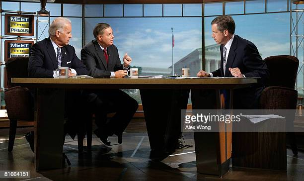 S Sen Lindsey Graham speaks as Sen Joseph Biden and moderator Brian Williams listen during a taping of 'Meet the Press' at the NBC studios June 22...