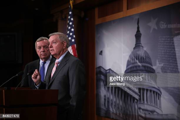 S Sen Lindsey Graham speaks as Senate Minority Leader Richard Durbin listens during a news conference at the Capitol September 5 2017 in Washington...