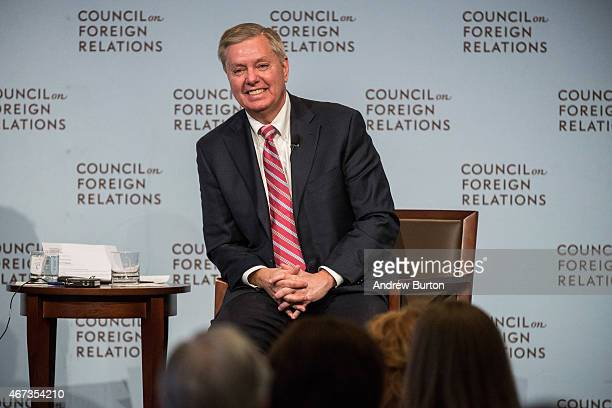 S Sen Lindsey Graham speaks at the Council On Foreign Relations on March 23 2015 in New York City Graham spoke extensively on US relations with Iran...