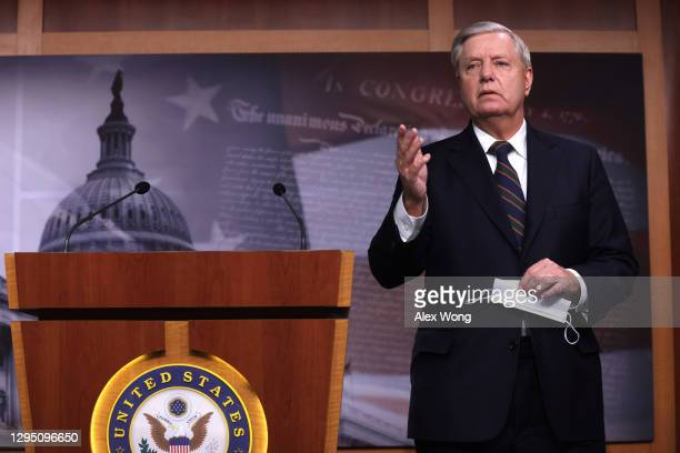 Sen. Lindsey Graham speaks during a news conference at the U.S. Capitol January 7, 2021 in Washington, DC. Sen. Graham condemned the pro-Trump mob's...