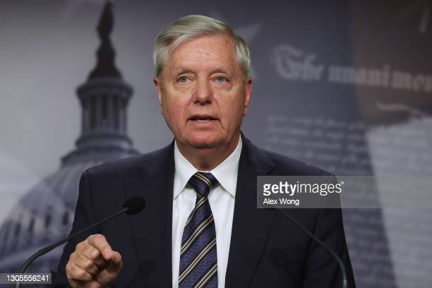 Sen. Lindsey Graham speaks during a news conference at the U.S. Capitol on March 5, 2021 in Washington, DC. The Senate continues to debate the latest...
