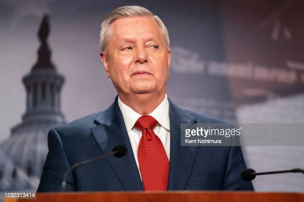 Sen. Lindsey Graham speaks during a news conference in response to President Joe Bidens decision to pull all American troops out of Afghanistan by...