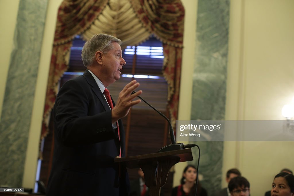 U.S. Sen. Lindsey Graham (R-SC) speaks during a news conference on health care September 13, 2017 on Capitol Hill in Washington, DC. Senators Graham, Cassidy, Heller and Johnson unveiled a proposed legislation to repeal and replace the Obamacare.