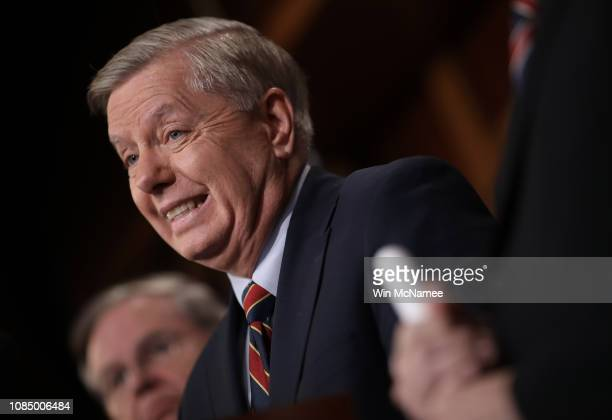 Sen. Lindsey Graham speaks during a press conference at the U.S. Capitol on December 20, 2018 in Washington, DC. Graham and Sen. Robert Menendez and...