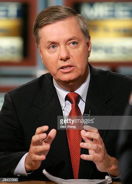 US Sen Lindsey Graham speaks during a taping of 'Meet the Press' at NBC Studios July 15 2007 in Washington DC Graham discussed the current situation...