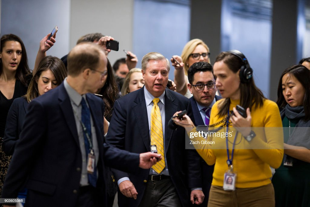 Sen. Lindsey Graham (R-SC) speaks to reporters following a vote on Capitol Hill on January 11, 2018 in Washington, DC. The house voted to reauthorize the Foreign Intelligence Surveillance Act (FISA).