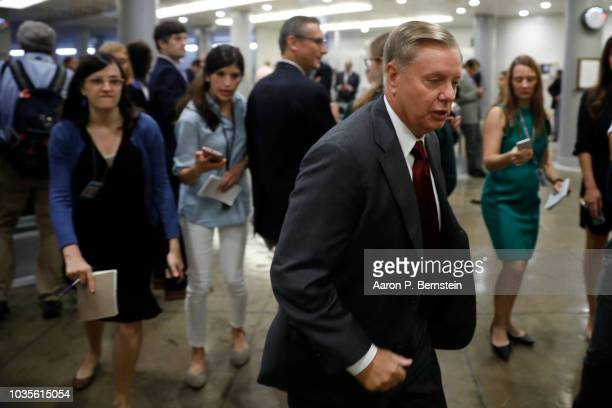 S Sen Lindsey Graham speaks with reporters ahead of the weekly policy luncheons on Capitol Hill September 18 2018 in Washington DC Senate Majority...