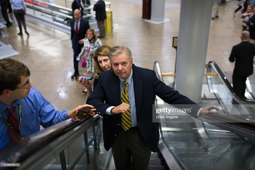 Sen. Lindsey Graham (R-SC) speaks with reporters on his way to a vote at the U.S. Capitol, May 9, 2016, in Washington, DC. Senate Democrats defeated a procedural vote on an energy bill, which increases funding for the Department of Energy and Army Corps of Engineers.