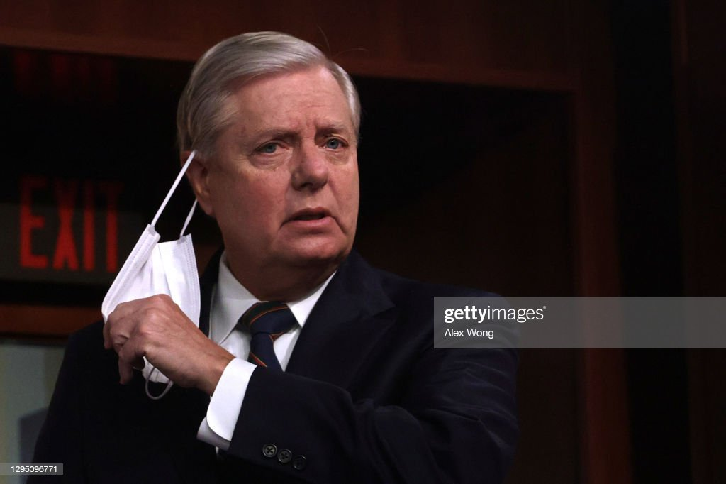 Sen. Lindsey Graham (R-SC) Holds A News Conference On Yesterday's Pro-Trump Mob Attack On The Capitol : News Photo