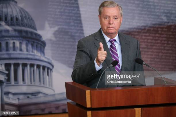 Sen Lindsey Graham talks to reporters about the suspect in a vehicle attack in Manhattan during a news conference at the US Capitol November 1 2017...