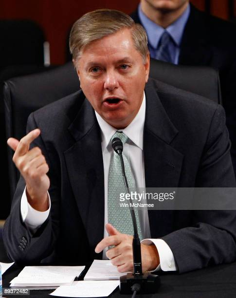 Sen Lindsey Graham the lone Republican on the Senate Judiciary Committee to vote in favor of the nomination of Supreme Court nominee Judge Sonia...